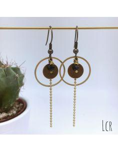 Boucles d'oreille anneau et rondelle laiton perle noire