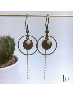 Boucles d'oreille anneau et rondelle laiton perle grise