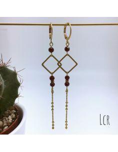 Boucles d'oreille petit anneau carré perle de cristal rouge foncé chaîne multi