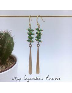 Boucles d'oreille perles corail vert pomme