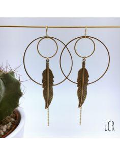 Boucles d'oreille duo d'anneaux grande plume laiton