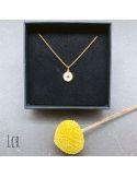 Ras du cou plaqué or Médaille étoile sur émail blc
