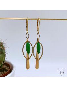 Boucles d'oreille anneau feuille, navette émaillée vert