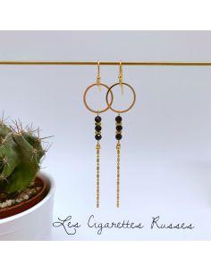 Boucles plaqué or anneau et agate noire