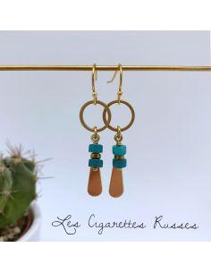 Boucles d'oreille perles tubes semi-précieuse turquoise
