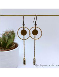 Boucles d'oreille anneau, piécette laiton, grande perle Jaspe Dalmatien