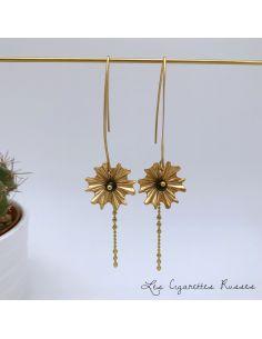 Boucles d'oreille laiton grande hanse fleur, agate noire
