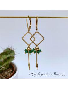 Boucles d'oreille carré et picot laiton perles vertes