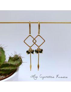 Boucles d'oreille carré et picot laiton perles noires