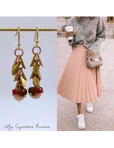 Boucles d'oreille feuillus laiton trio de perles roses