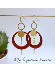 Boucles d'oreille anneaux émaillé rouge