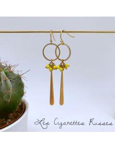 Boucles d'oreille anneau, grande goutte perles jaunes