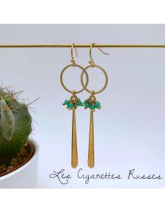 Boucles d'oreille anneau, grande goutte perles turquoise