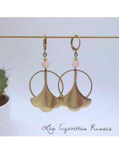 Boucles d'oreille laiton trèfle agate rose