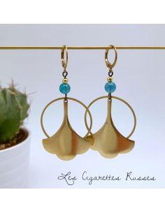 Boucles d'oreille laiton trèfle agate bleu