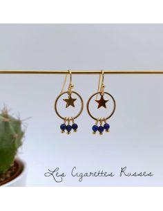 Boucles d'oreille plaqué or anneau, étoile et pierres bleu roi