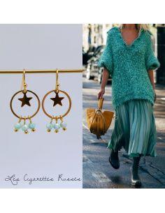 Boucles d'oreille plaqué or anneau, étoile et pierres vert d'eau