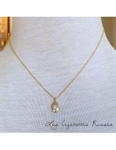 Ras du cou plaqué or Médaille ovale étoile en strass