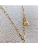 Sautoir plaqué or grosses mailles et médailles