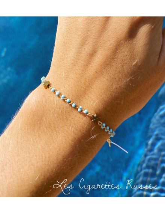 Bracelet plaqué or émail bleu ciel