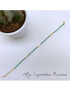 Bracelet plaqué or émail turquoise