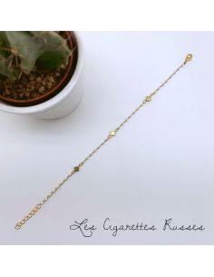 Bracelet plaqué or émail blanc