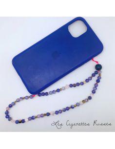 Cordon de GSM agate ronde violet bleu