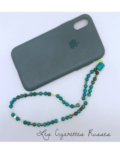 Cordon de GSM aragonite teinté turquoise rond