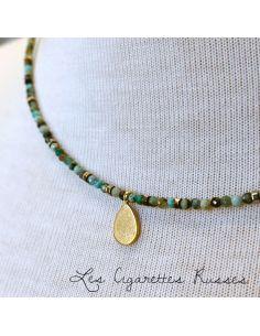 Ras du cou Turquoise africaine pendentif