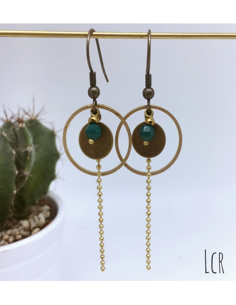 Boucles d'oreille anneau et rondelle laiton perle verte