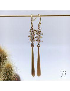 Boucles d'oreille perles corail blanc