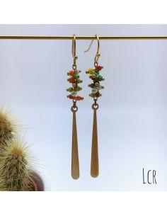 Boucles d'oreille perles corail multicolor