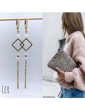 Boucles d'oreille petit anneau carré perle de cristal rose chaîne multi