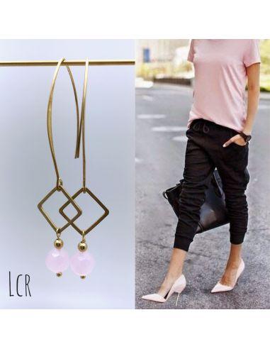 Boucles d'oreille grande hanse anneau carré et perle de cristal rose pâle
