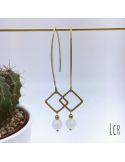 Boucles d'oreille grande hanse anneau carré et perle de cristal blanc