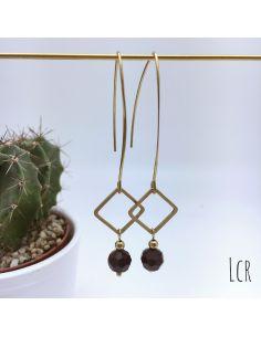 Boucles d'oreille grande hanse anneau carré et perle de cristal bordeaux