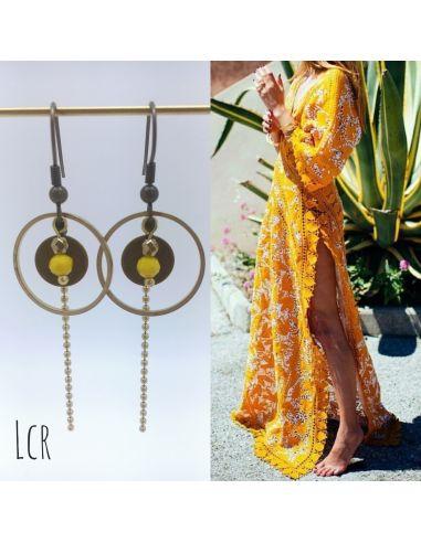 Boucles d'oreille anneau et rondelle laiton, perle de cristal jaune