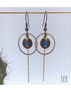 Boucles d'oreille anneau et rondelle laiton, perle de cristal bleu