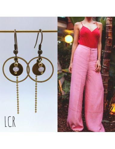Boucles d'oreille anneau et rondelle laiton, perle de cristal rose