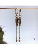 Boucles d'oreille feuillus et chaîne laiton