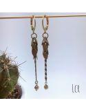 Boucles d'oreille chaîne feuillus, perle hématite