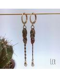 Boucles d'oreille chaîne feuillus, perle de verre gris verdâtre