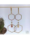 Boucles d'oreille hexagones laiton, pierres blanches