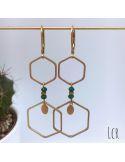 Boucles d'oreille hexagones laiton, pierres vertes