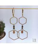 Boucles d'oreille hexagones laiton, pierres noires