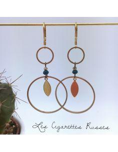 Boucles d'oreille duo d'anneaux, perle teintée bleu