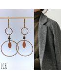 Boucles d'oreille duo d'anneaux, perle teintée kaki