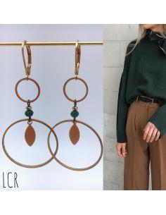 Boucles d'oreille duo d'anneaux, perle teintée vert