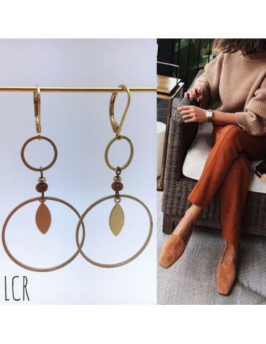 Boucles d'oreille duo d'anneaux, perle teintée brun