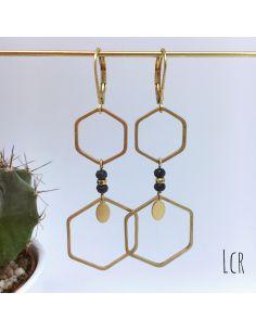 Boucles d'oreille hexagones laiton, pierres bleu grisé